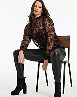 Animal Print Velour Mesh Shirred Top