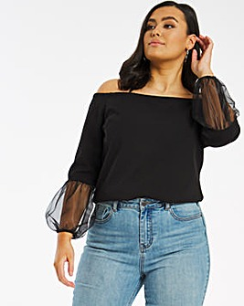 Black Organza Sleeve Bardot Top