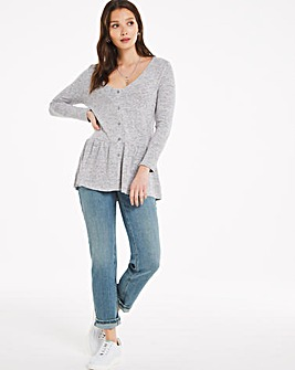 Knit Look Peplum Hem Cardigan