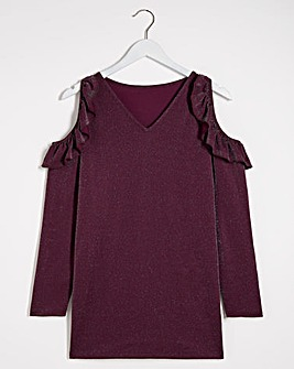 Berry Sparkle Cut Out Frill Top