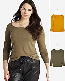2 Pack Mustard and Khaki Square Neck Tops