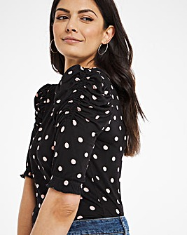 Spot Print Gathered Sleeve Top