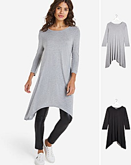Pack 2 Hanky Hem Tunic Long Sleeve