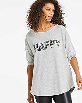 Happy Slogan T-Shirt