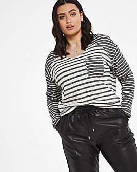 Textured Mixed Stripe pocket l/s T-Shirt