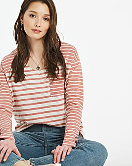 Textured Mixed Stripe pocket l/s T-Shirt