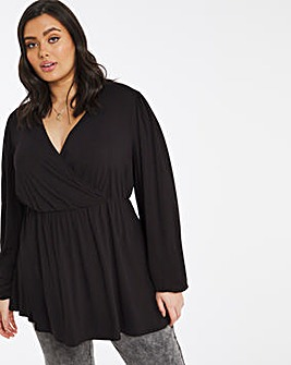Black Balloon Sleeve Wrap Front Tunic