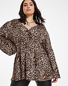 Animal Balloon Sleeve Wrap Front Tunic