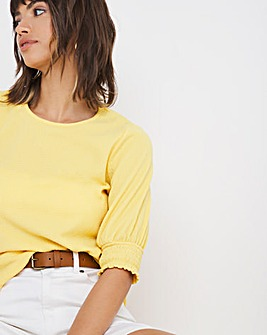 Crinkle Look Jersey Shirred Sleeve Top