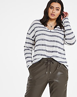 Knit Look Stripe Oversized Top