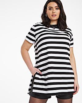 Stripe Split Side Long Line T-shirt