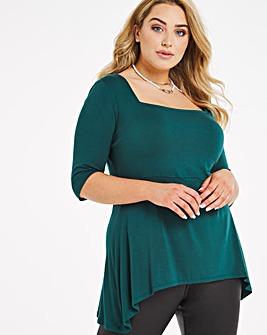 Emerald 3/4 Sleeve Square Neck Tunic