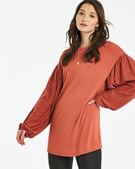 Dobby Spot Volume Sleeve Top