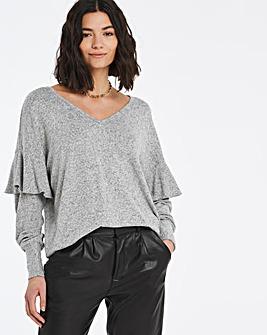 Knit Look Ruffle Sleeve Top