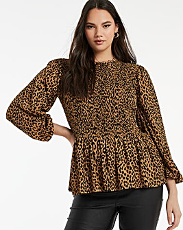 Leopard Print Long Sleeve Shirred Top