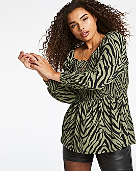 Khaki Zebra Shirred Peplum Top