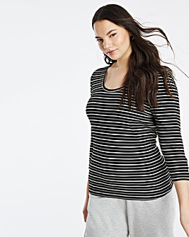 Stripe Rib Button Trim Scoop Neck Top