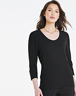 Black Rib Button Trim Scoop Neck Top