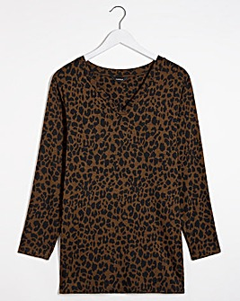Animal Jacquard V-Neck Tunic