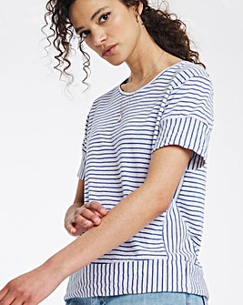Marine Blue/White Stripe Linen Mix Top