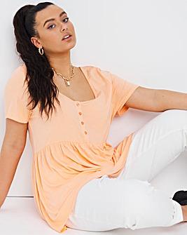 Peach Short Sleeve Button Down Tunic