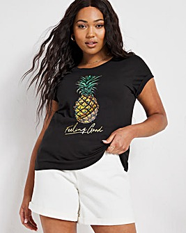 Pineapple Print Front Turnback Tee