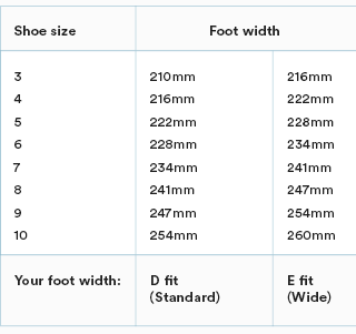 Shoe size guide wide soccer cleats.