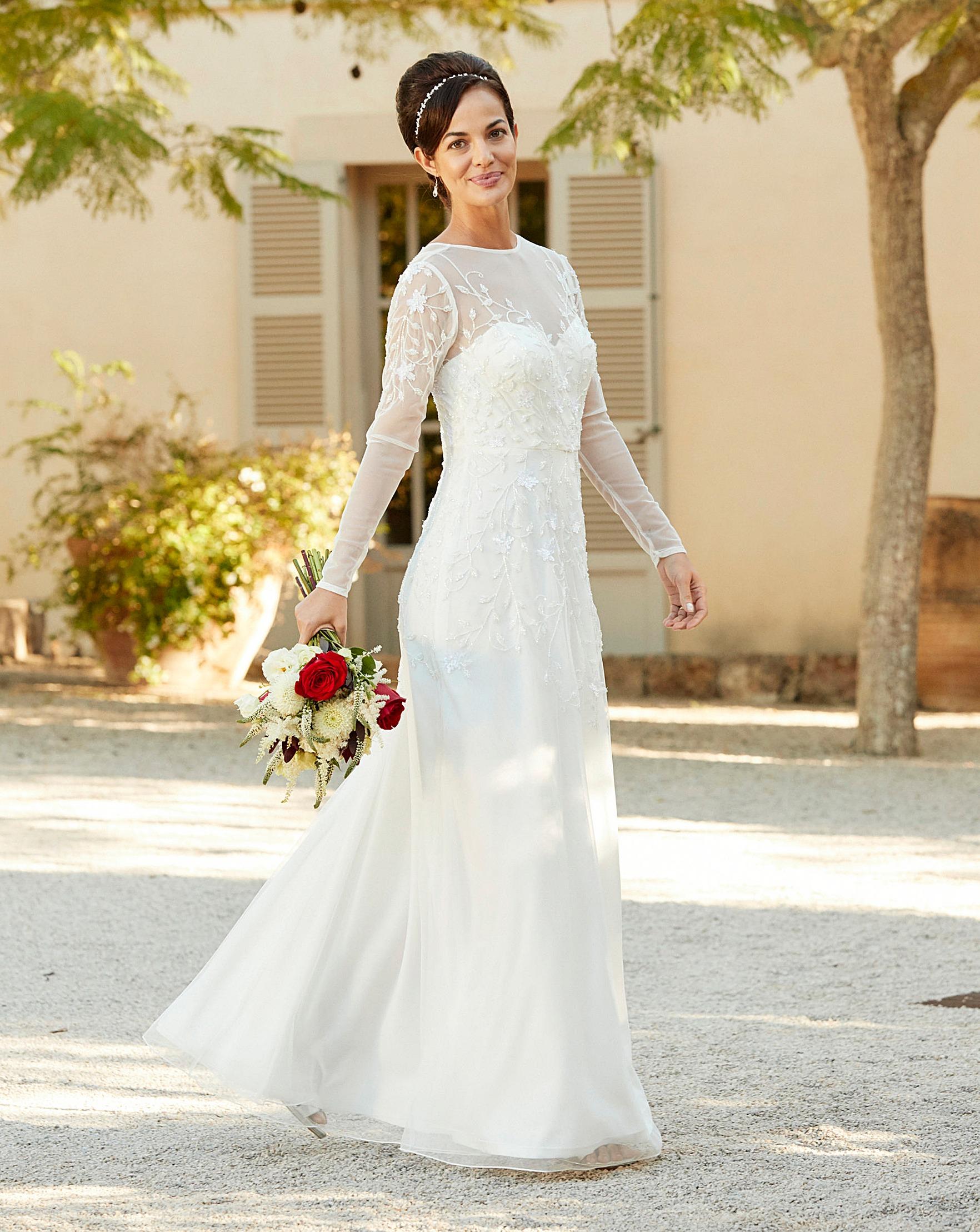 Joanna Hope Beaded Bridal Dress   J D Williams