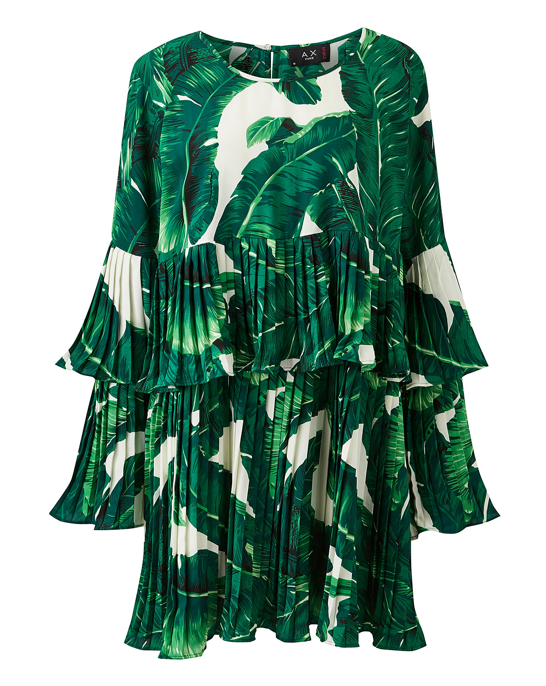 Leaf Print Pleat Tier Dress