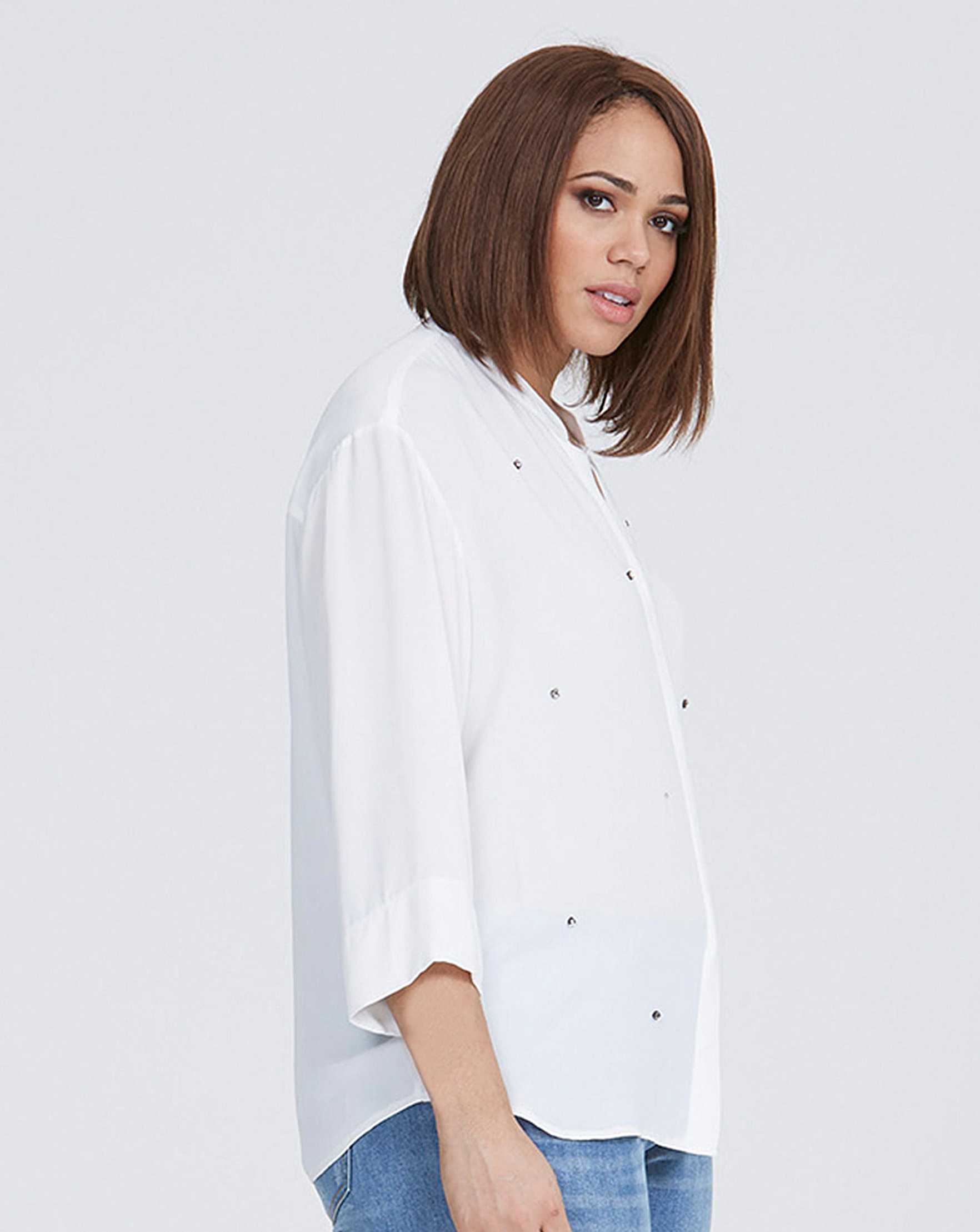 aef87714a0e6cf Elvi White Embellished Blouse | Oxendales
