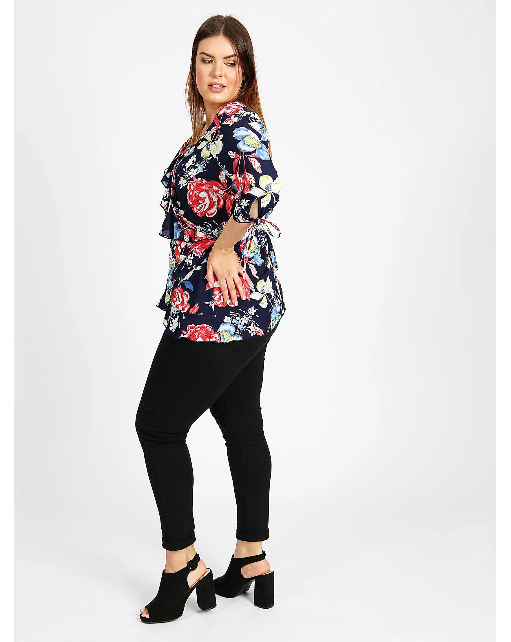 edd659b0d0 Lovedrobe GB Navy Floral Print Wrap Top