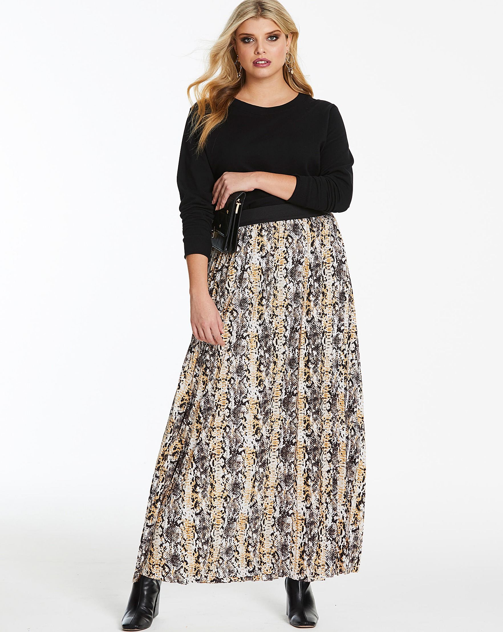665f51cad Snake Print Pleat Maxi Skirt | Simply Be