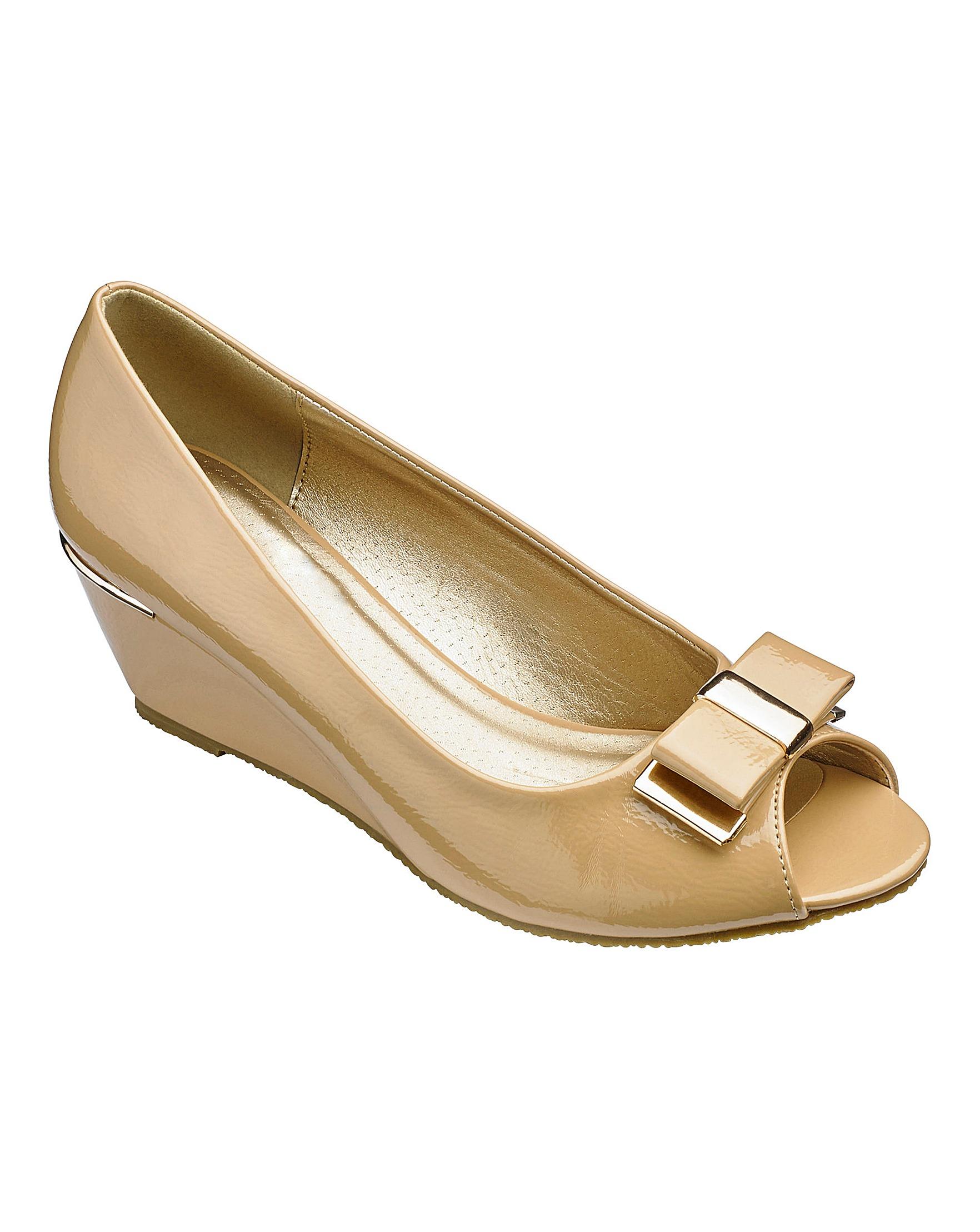 ee220940233 Footflex by Lotus Peep Toe Wedge Shoes Wide E Fit