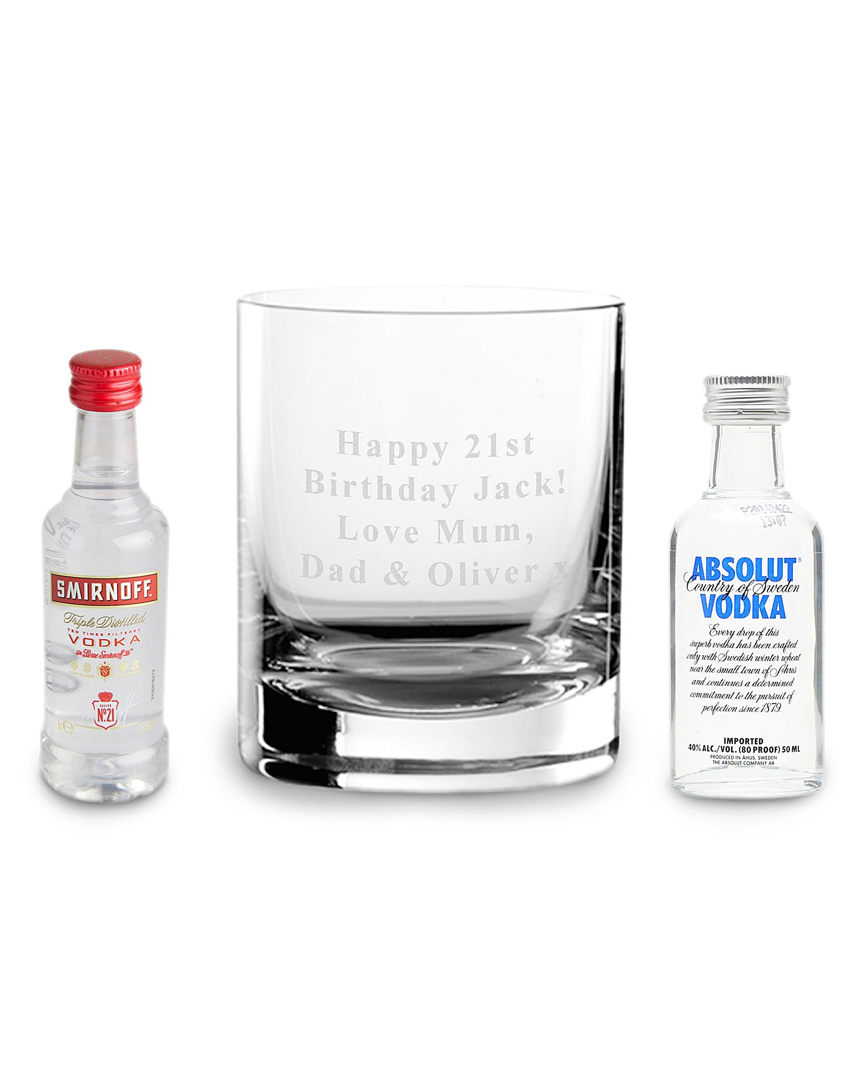 Personalised Vodka Glass & 2 Miniatures Gift Set