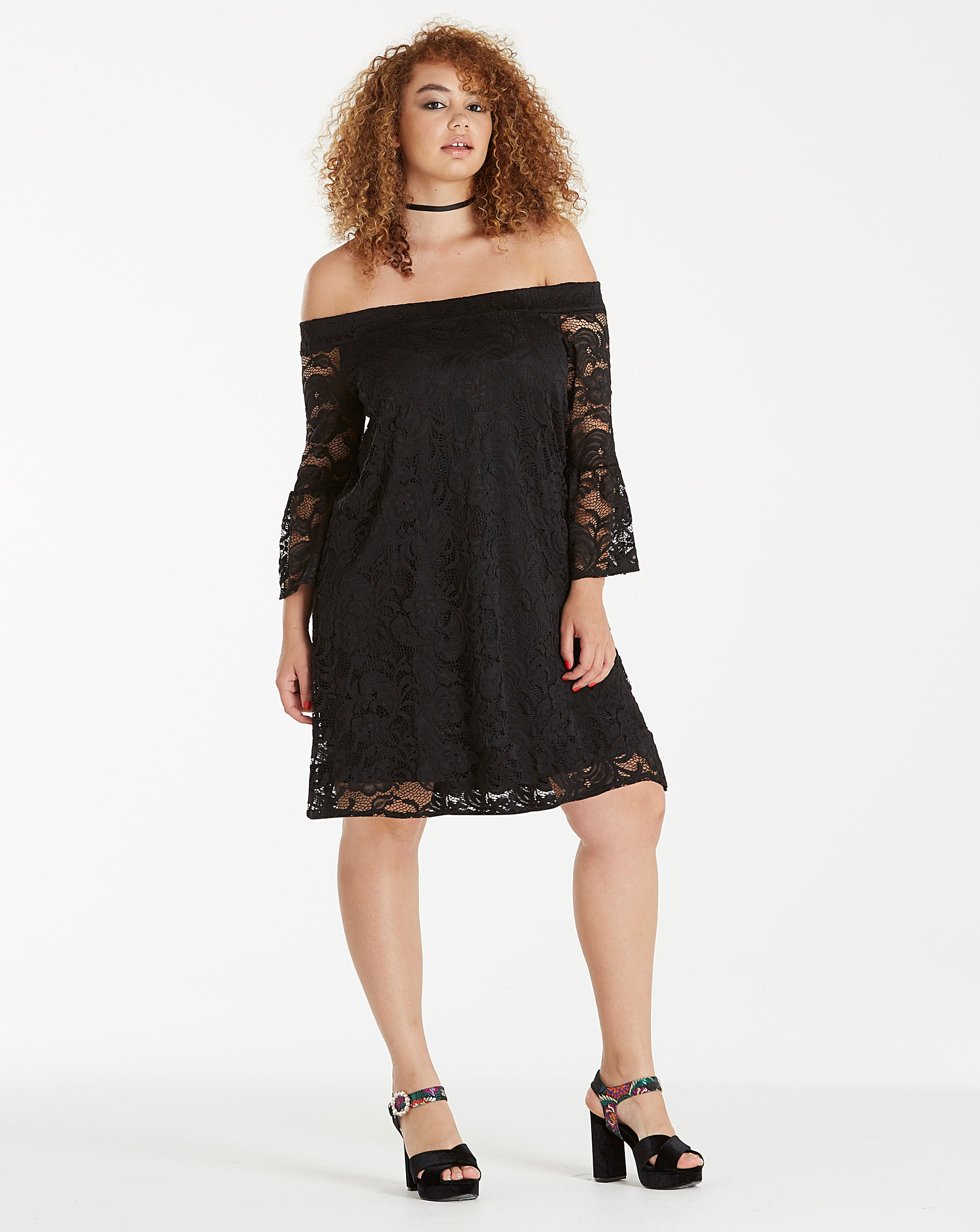 81a65d74f362 Black Lace Bardot Dress