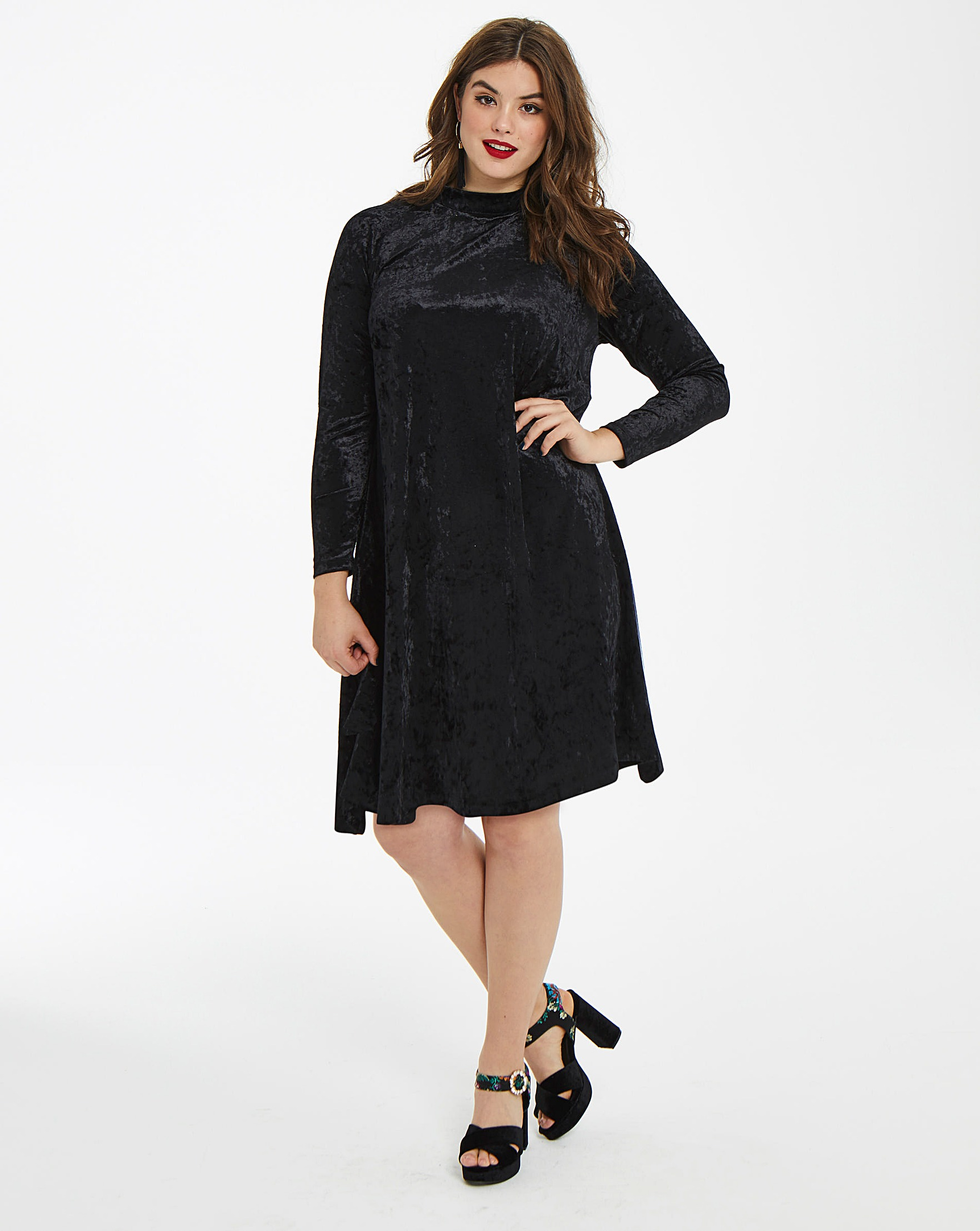 117713d123e5b Glamorous Curve Velour Swing Dress | Simply Be