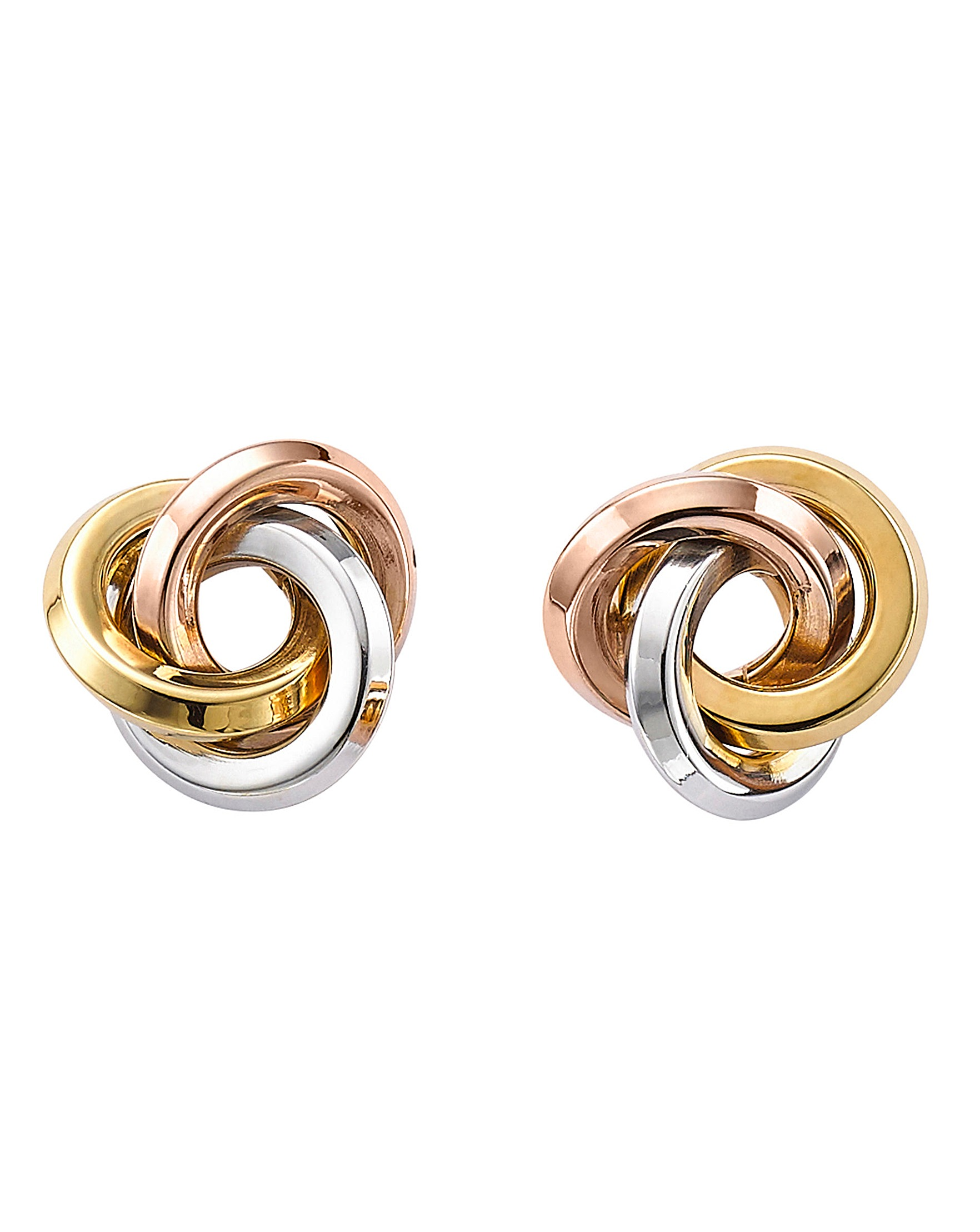 b27435a96 9 Carat Gold 3-Tone Knot Stud Earrings | Oxendales