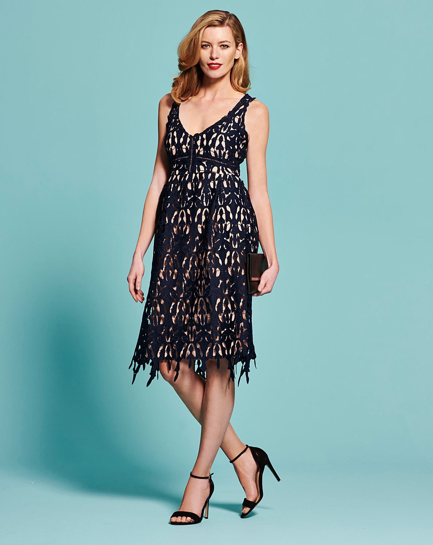 Simply Be Lace Fit and Flare Dress | J D Williams