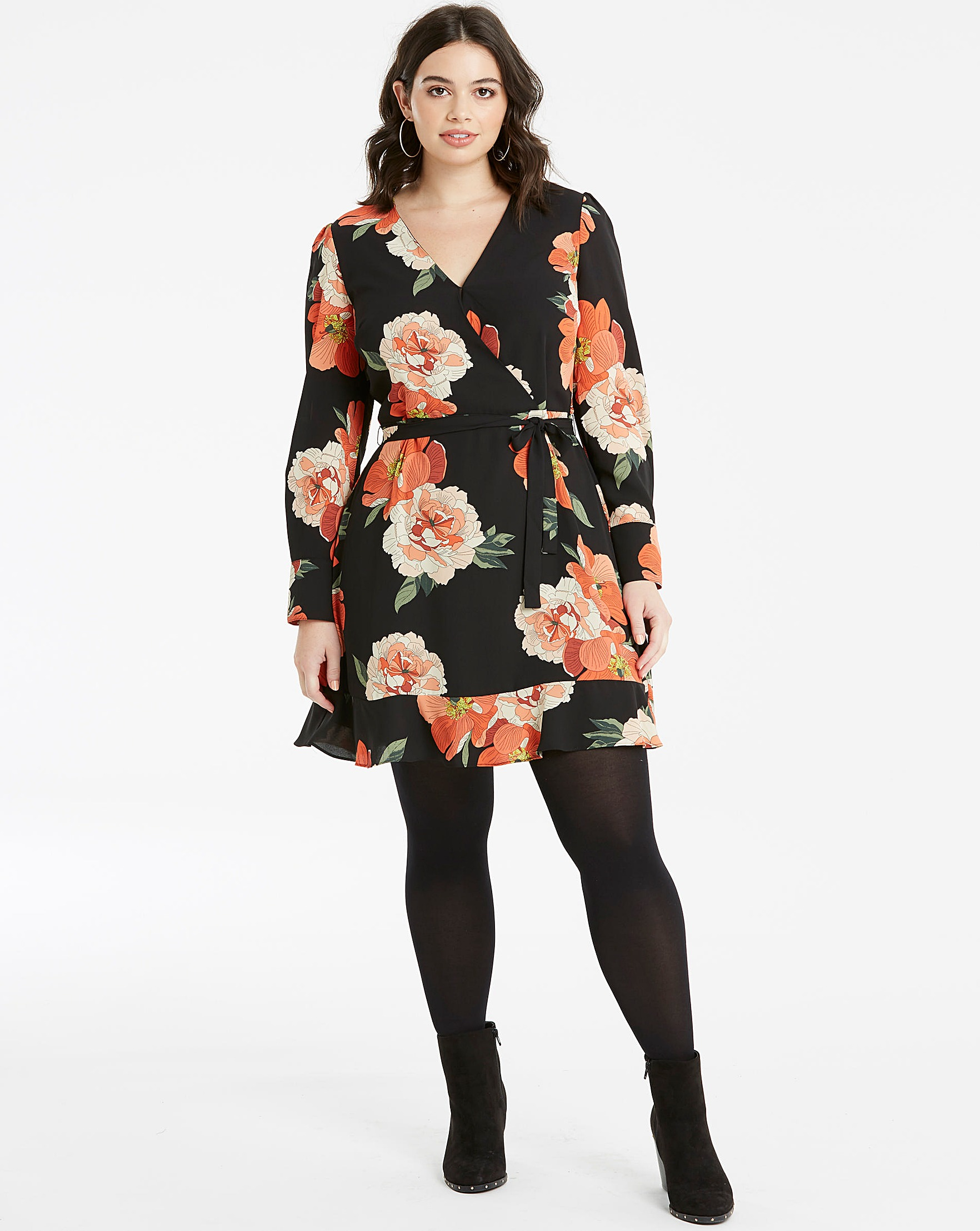 7614751ccb62 Oasis Curve Bold Bloom V Neck Skater | Simply Be