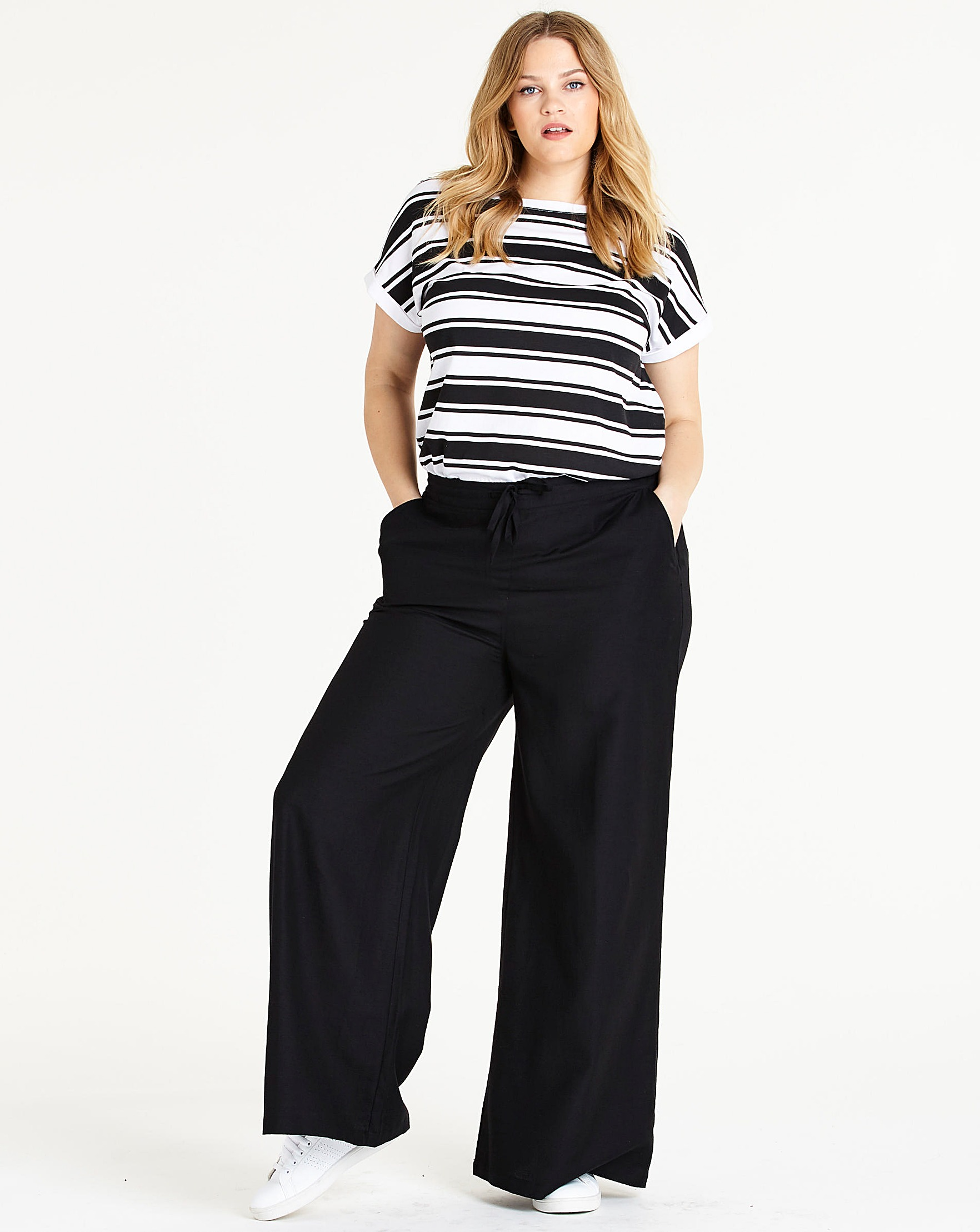 36eead06fd84e Easy Care Linen Mix Wide Leg Trousers   Simply Be