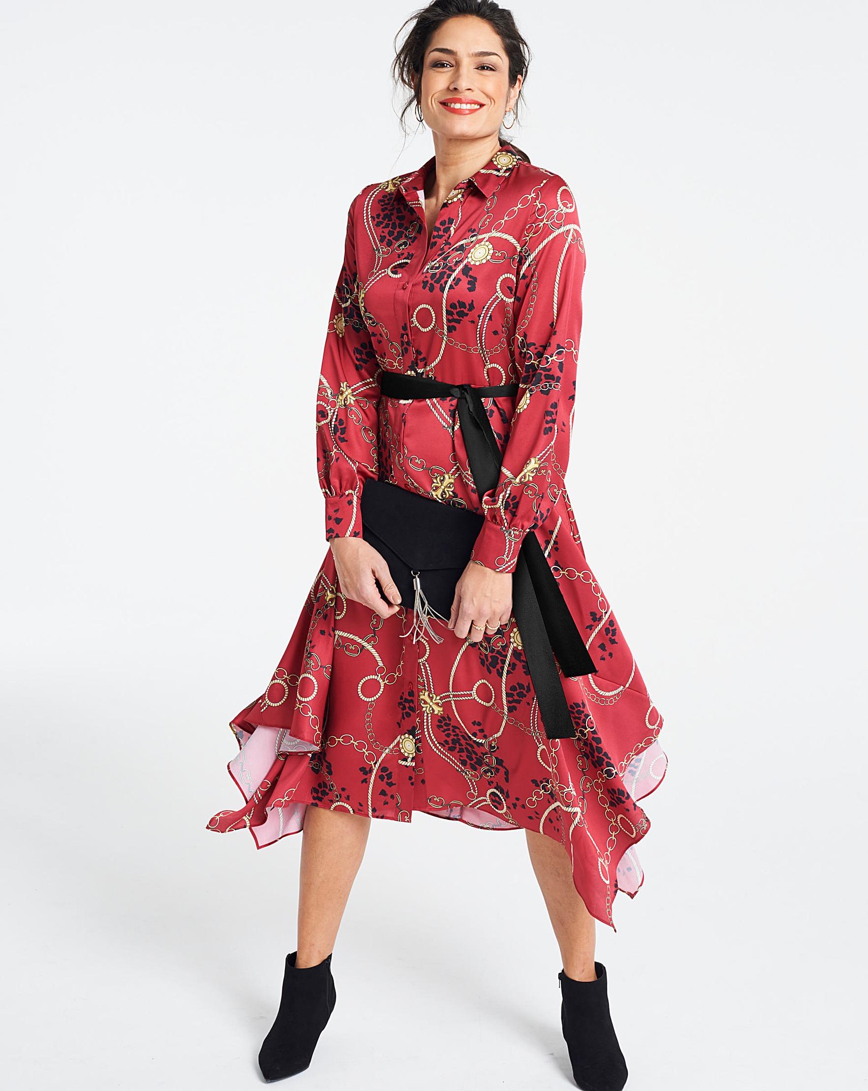 2606300f3 Red Floral Print Hanky Hem Midi Dress - raveitsafe