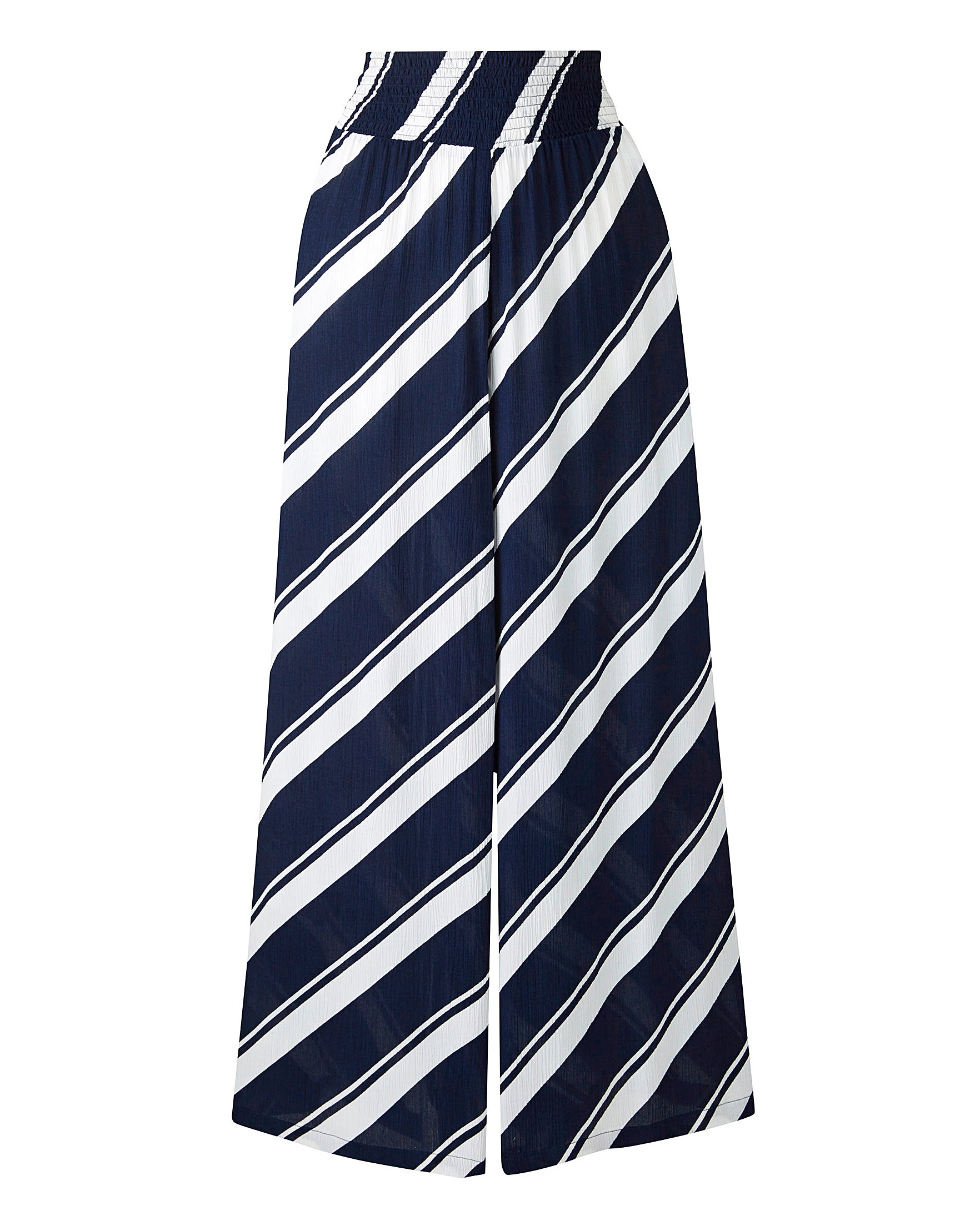 7035e3ff20 Stripe Crinkle Shirred Waist Wide Trs | Marisota