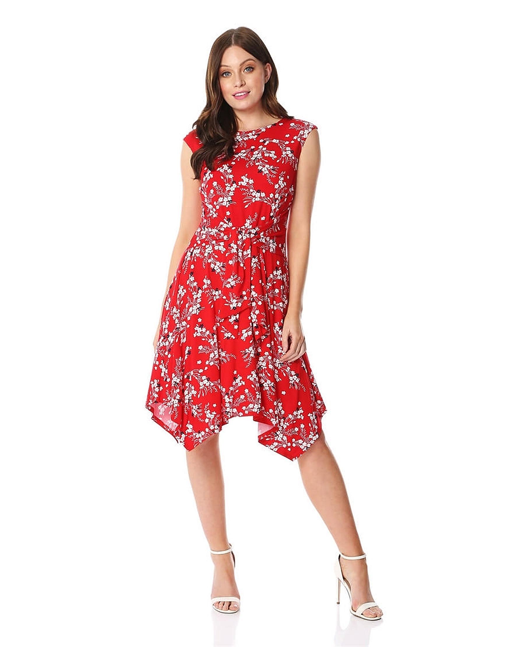 9491a0dc7fb Roman Oriental Floral Hanky Hem Dress