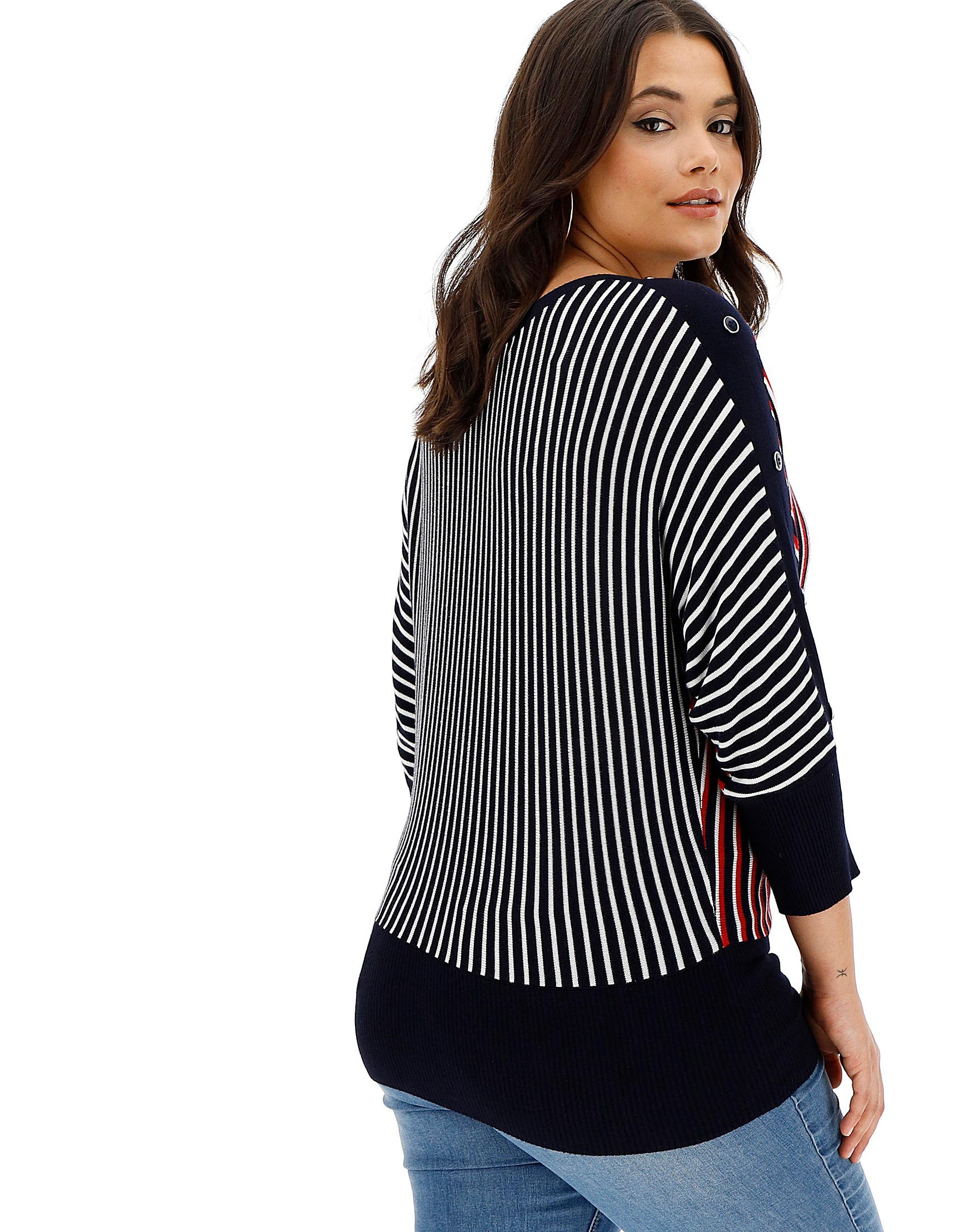 ca2a9e291e8f Oasis Curve Tanya Stripe V With Buttons | Simply Be