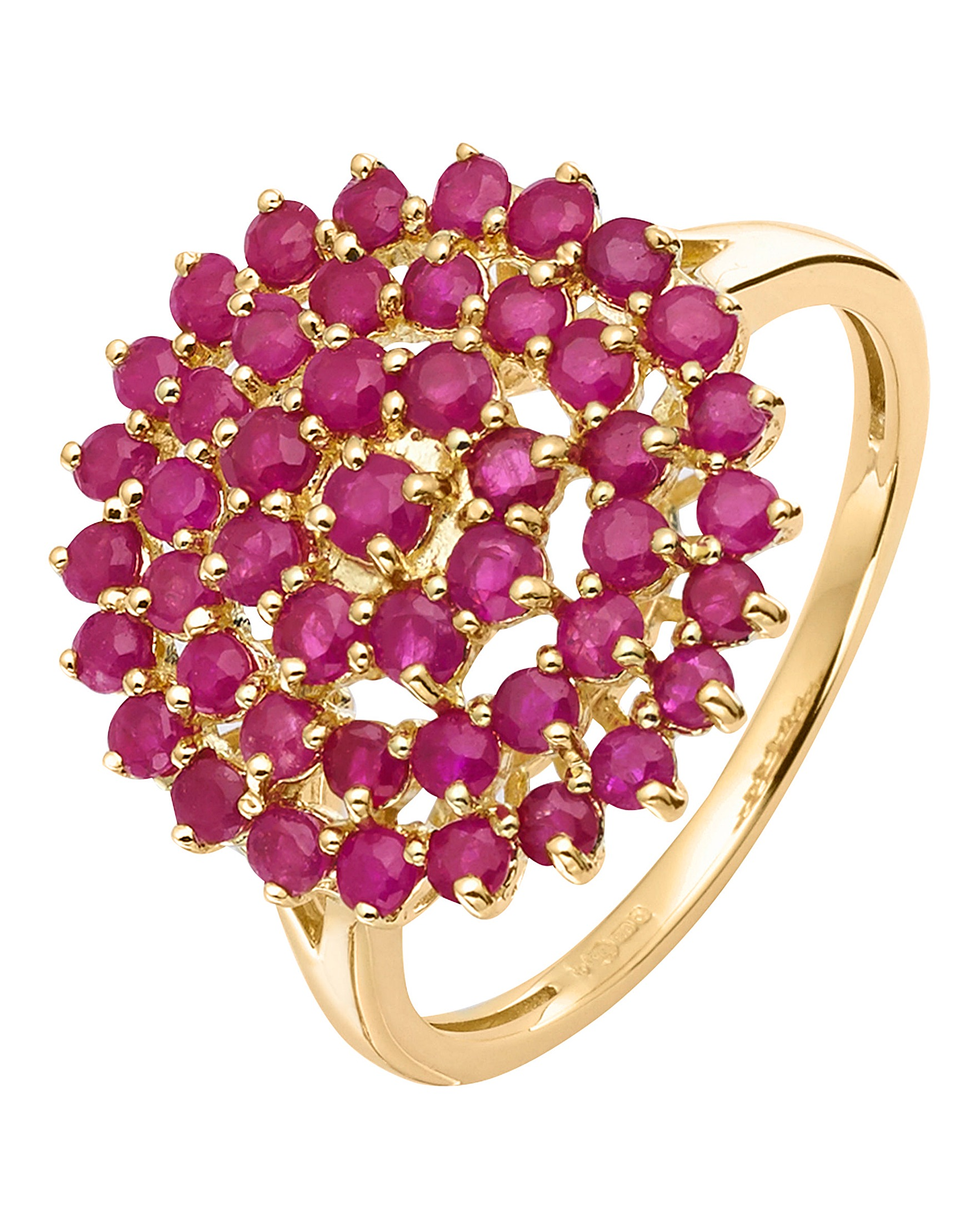 9 Carat Gold Ruby Cluster Ring | J D Williams