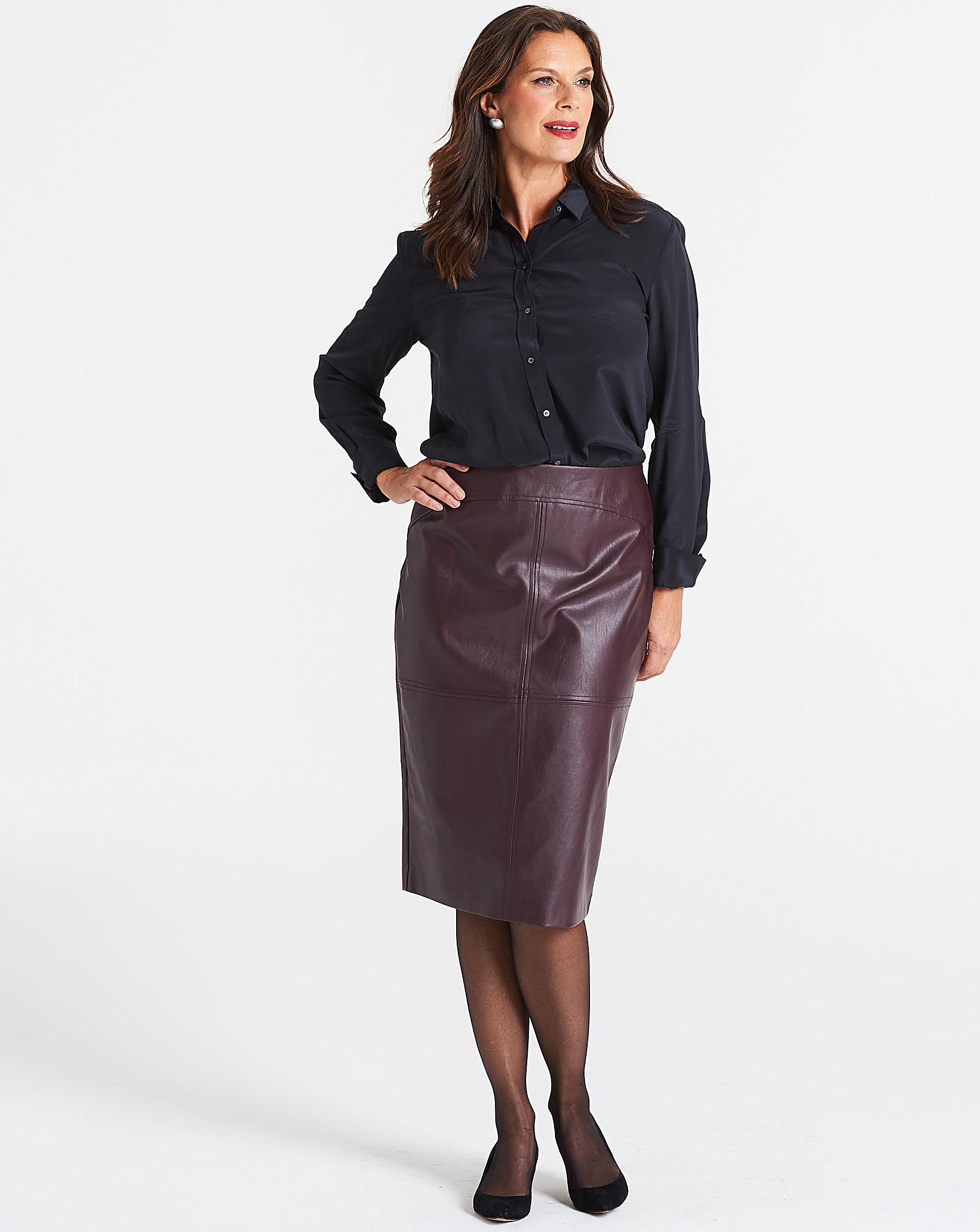 1d76326157a5 Oasis Curve Faux Leather Pencil Skirt | Oxendales