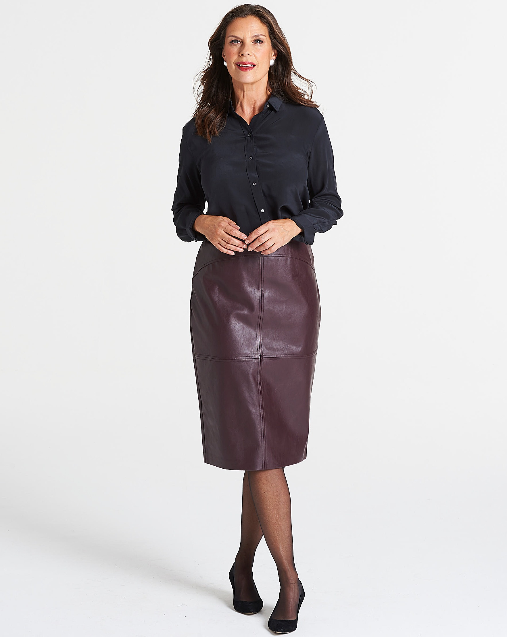 03d97aa75a Oasis Curve Faux Leather Pencil Skirt | Oxendales