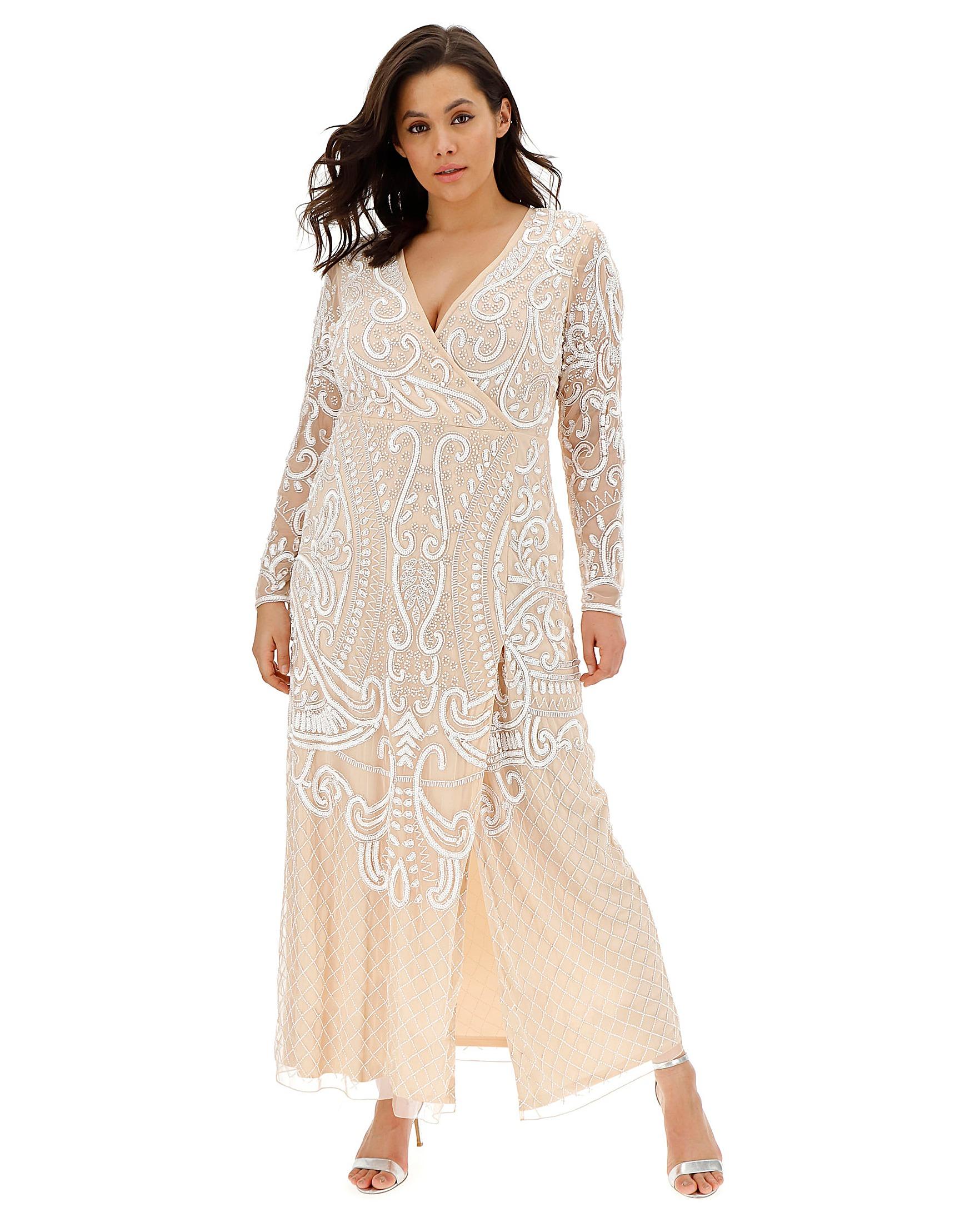 5a1a7d75 Joanna Hope Wrap Maxi Beaded Dress   Simply Be