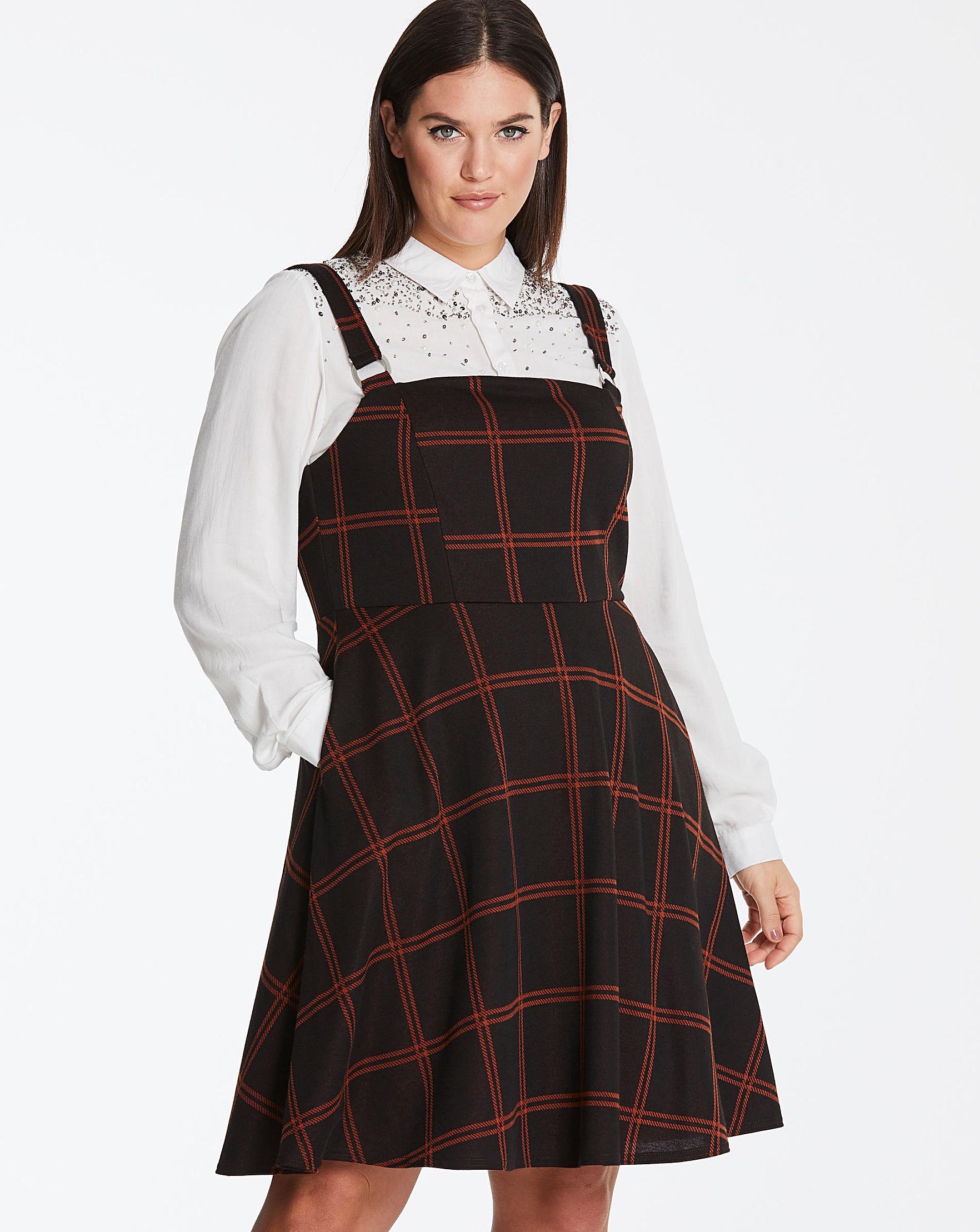 e905b22f3bade Brown/Orange Check Pinafore Dress | Simply Be