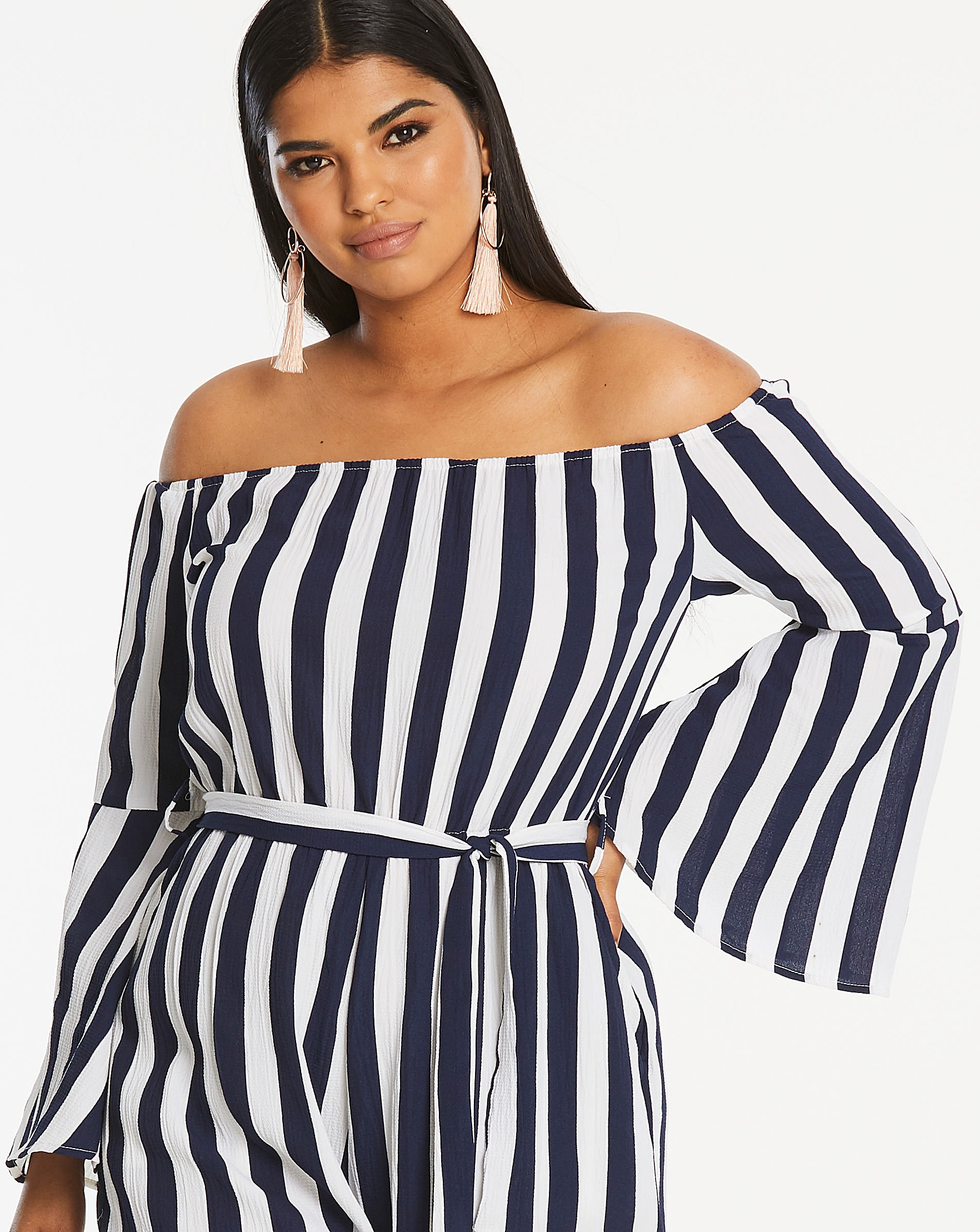 56cdd2d711 AX Paris Curve Bardot Stripe Jumpsuit